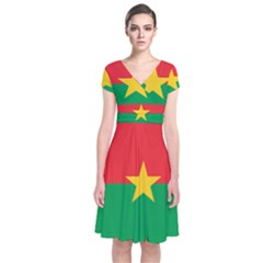 Flag Of Burkina Faso Short Sleeve Front Wrap Dress