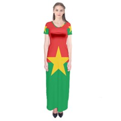 Flag Of Burkina Faso Short Sleeve Maxi Dress