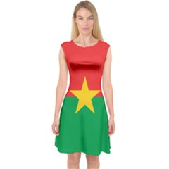 Flag Of Burkina Faso Capsleeve Midi Dress