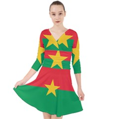 Flag Of Burkina Faso Quarter Sleeve Front Wrap Dress