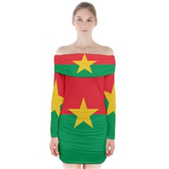 Flag Of Burkina Faso Long Sleeve Off Shoulder Dress