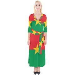 Flag Of Burkina Faso Quarter Sleeve Wrap Maxi Dress