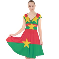 Flag Of Burkina Faso Cap Sleeve Front Wrap Midi Dress