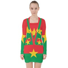 Flag Of Burkina Faso V Neck Bodycon Long Sleeve Dress