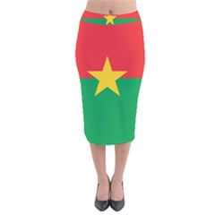 Flag Of Burkina Faso Velvet Midi Pencil Skirt