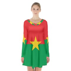 Flag Of Burkina Faso Long Sleeve Velvet V Neck Dress