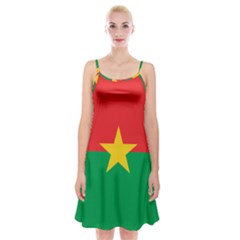 Flag Of Burkina Faso Spaghetti Strap Velvet Dress
