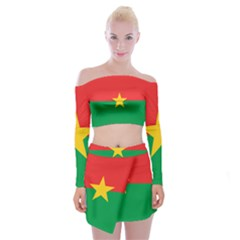 Flag Of Burkina Faso Off Shoulder Top With Mini Skirt Set
