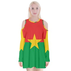 Flag Of Burkina Faso Velvet Long Sleeve Shoulder Cutout Dress