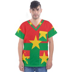 Flag Of Burkina Faso Men s V Neck Scrub Top