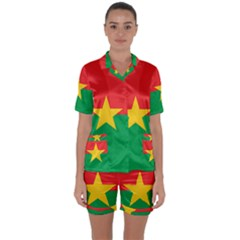 Flag Of Burkina Faso Satin Short Sleeve Pyjamas Set