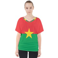 Flag Of Burkina Faso V Neck Dolman Drape Top