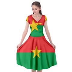 Flag Of Burkina Faso Cap Sleeve Wrap Front Dress