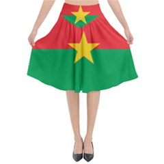Flag Of Burkina Faso Flared Midi Skirt