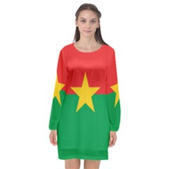 Flag Of Burkina Faso Long Sleeve Chiffon Shift Dress