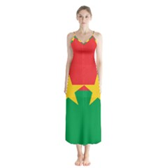 Flag Of Burkina Faso Button Up Chiffon Maxi Dress