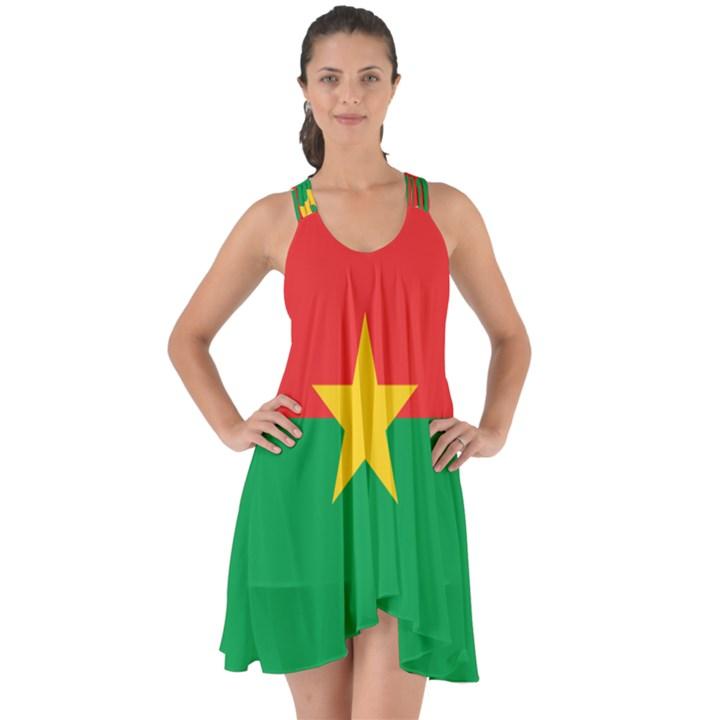 Flag of Burkina Faso Show Some Back Chiffon Dress