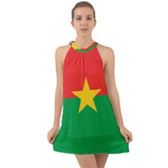Flag Of Burkina Faso Halter Tie Back Chiffon Dress