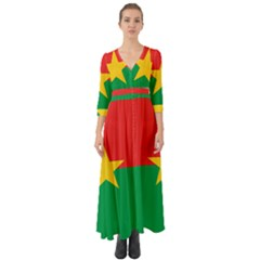 Flag Of Burkina Faso Button Up Boho Maxi Dress