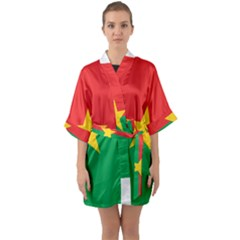 Flag Of Burkina Faso Quarter Sleeve Kimono Robe