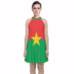 Flag Of Burkina Faso Velvet Halter Neckline Dress