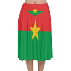 Flag Of Burkina Faso Velvet Flared Midi Skirt