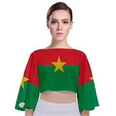 Flag Of Burkina Faso Tie Back Butterfly Sleeve Chiffon Top