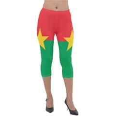 Flag Of Burkina Faso Lightweight Velour Capri Leggings