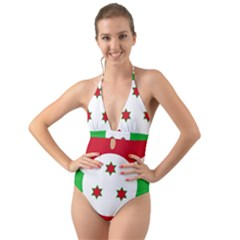 Flag Of Burundi Halter Cut Out One Piece Swimsuit