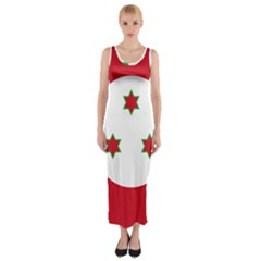 Flag Of Burundi Fitted Maxi Dress