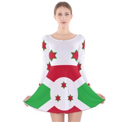 Flag Of Burundi Long Sleeve Velvet Skater Dress