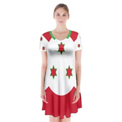 Flag Of Burundi Short Sleeve V Neck Flare Dress