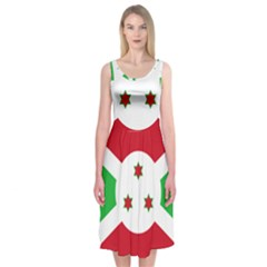 Flag Of Burundi Midi Sleeveless Dress