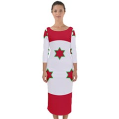Flag Of Burundi Quarter Sleeve Midi Bodycon Dress