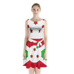 Flag Of Burundi Sleeveless Waist Tie Chiffon Dress