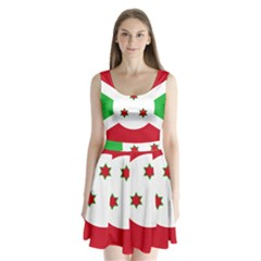 Flag Of Burundi Split Back Mini Dress