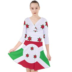 Flag Of Burundi Quarter Sleeve Front Wrap Dress