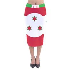 Flag Of Burundi Velvet Midi Pencil Skirt