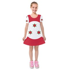 Flag Of Burundi Kids  Short Sleeve Velvet Dress