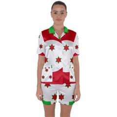 Flag Of Burundi Satin Short Sleeve Pyjamas Set