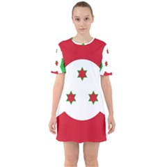 Flag Of Burundi Sixties Short Sleeve Mini Dress