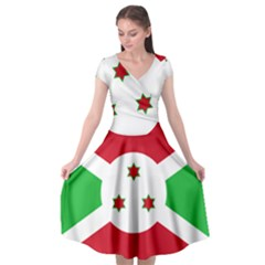 Flag Of Burundi Cap Sleeve Wrap Front Dress