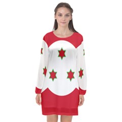Flag Of Burundi Long Sleeve Chiffon Shift Dress