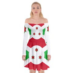 Flag Of Burundi Off Shoulder Skater Dress