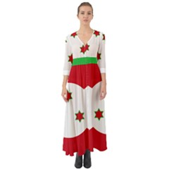 Flag Of Burundi Button Up Boho Maxi Dress