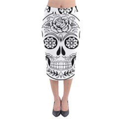 Sugar Skull Midi Pencil Skirt