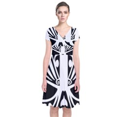 Tribal Sugar Skull Short Sleeve Front Wrap Dress