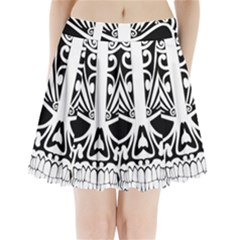 Tribal Sugar Skull Pleated Mini Skirt