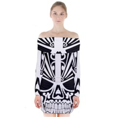 Tribal Sugar Skull Long Sleeve Off Shoulder Dress