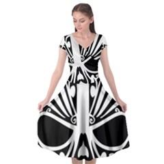 Tribal Sugar Skull Cap Sleeve Wrap Front Dress